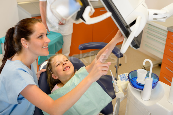 Dentist showing child dental procedure on monitor Stock photo © CandyboxPhoto