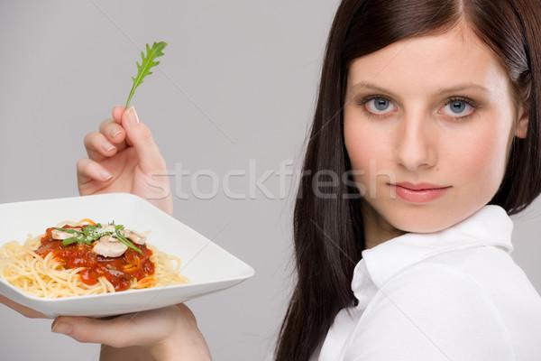 Сток-фото: итальянской · кухни · портрет · здорового · женщину · спагетти · соус