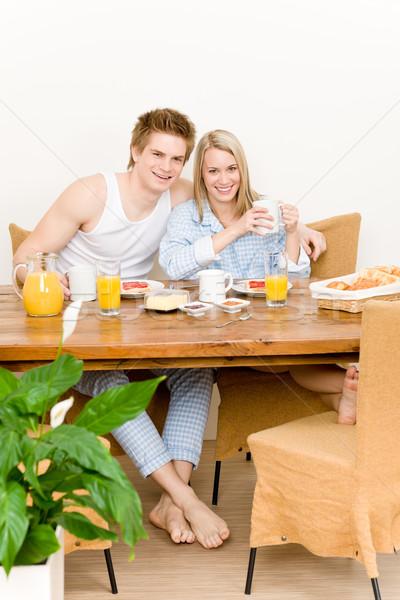 Stockfoto: Ontbijt · gelukkig · paar · genieten · romantische · ochtend