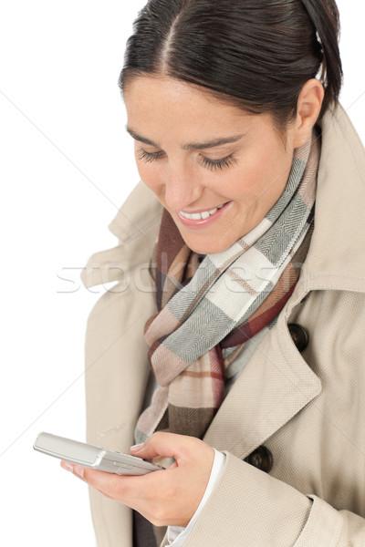 ストックフォト: 秋 · ファッション · ビジネス女性 · 肖像 · 電話 · かなり