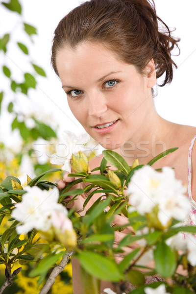Gardening - Woman with Rhododendron flower blossom Stock photo © CandyboxPhoto