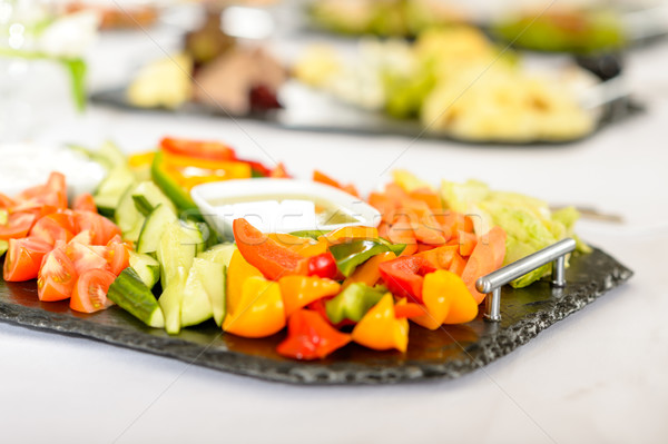 Catering table buffet vegetable salad plate Stock photo © CandyboxPhoto