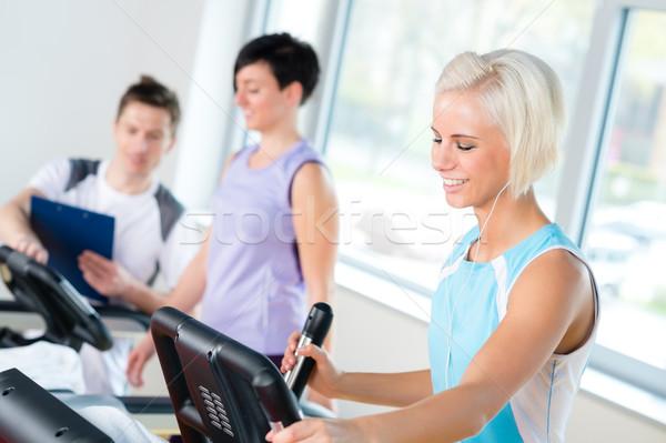 Fitnessz fiatalok futópad kardio edzés sétál Stock fotó © CandyboxPhoto