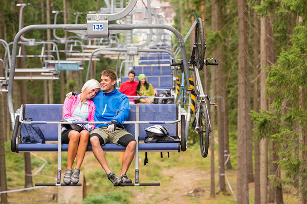 Carefree couple traveling by chair lift wood Stock photo © CandyboxPhoto