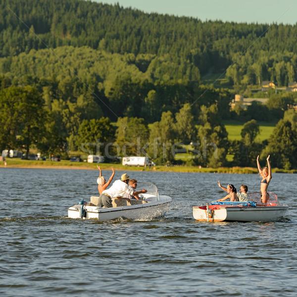 Jovens lago verão mulheres paisagem Foto stock © CandyboxPhoto