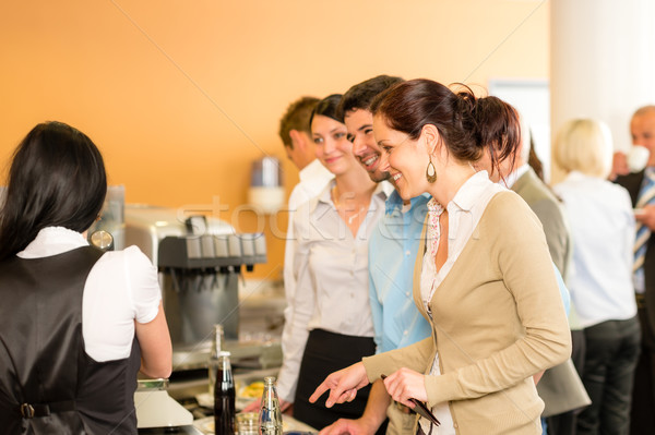 Paying at cafeteria woman cashier serve woman Stock photo © CandyboxPhoto