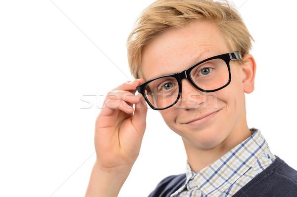 Nerd ragazzo geek occhiali adolescente Foto d'archivio © CandyboxPhoto