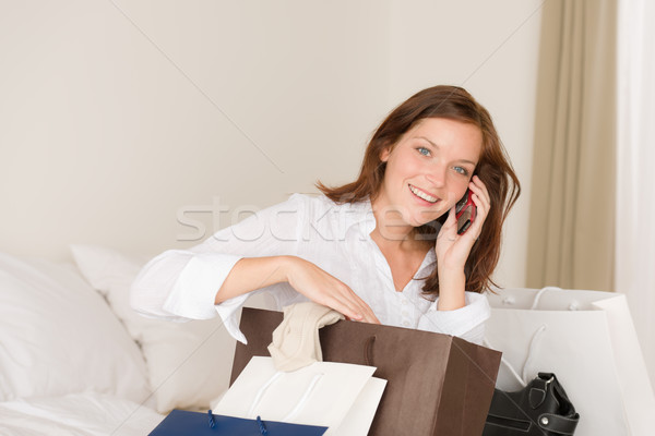 Woman on phone - back home from shopping Stock photo © CandyboxPhoto