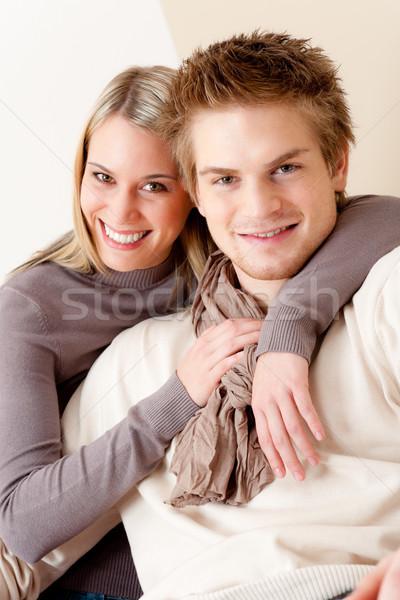 Photo stock: Couple · amour · heureux · détendre · maison · ensemble