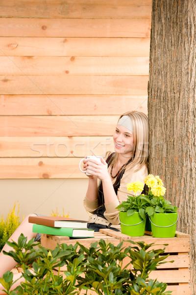 саду женщину терраса наслаждаться Кубок кофе Сток-фото © CandyboxPhoto