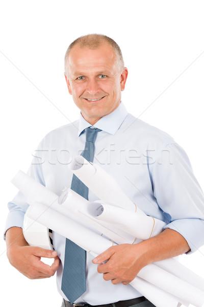 Foto stock: Senior · profissional · arquiteto · masculino · capacete · sorridente