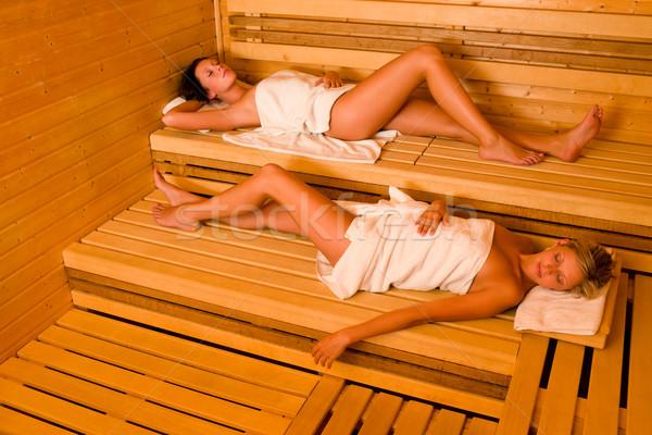 Szauna két nő megnyugtató törölköző kettő egészséges Stock fotó © CandyboxPhoto