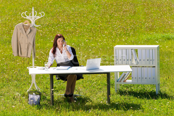 Businesswoman in sunny meadow calling nature office Stock photo © CandyboxPhoto