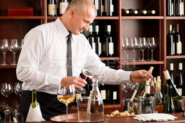 Stock photo: Wine bar waiter happy male in restaurant