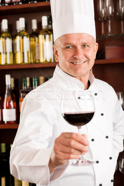 Chef cook wine bar hold glass restaurant Stock photo © CandyboxPhoto
