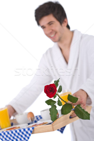 Breakfast - young man holding tray with rose Stock photo © CandyboxPhoto