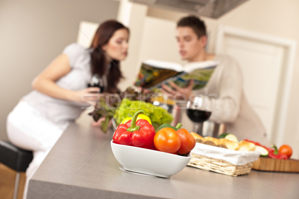 çift mutfak yemek kitabı Stok fotoğraf © CandyboxPhoto