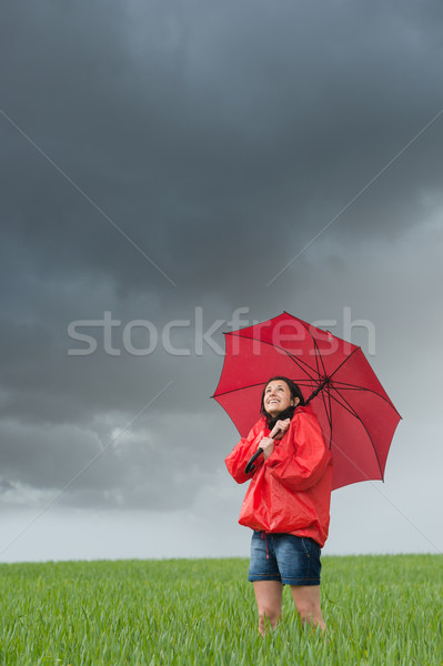 Lively girl daydreaming on rainy day Stock photo © CandyboxPhoto