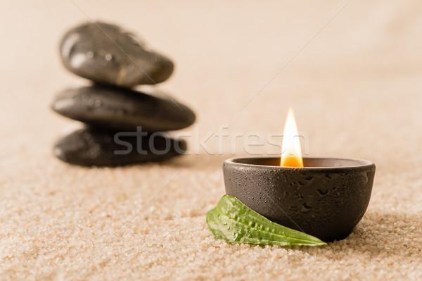 Foto stock: Estância · termal · natureza · morta · vela · zen · pedras · ardente