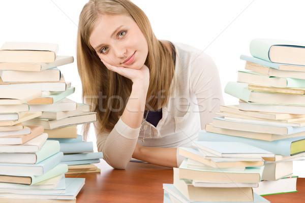 Foto stock: Estudiante · adolescente · mujer · libros · retrato