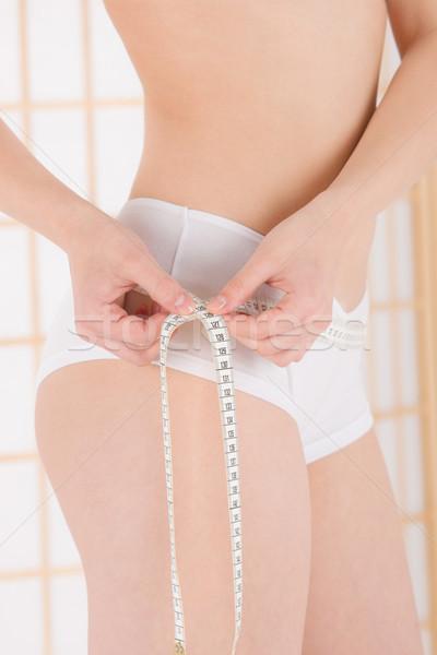 Szépség test törődés fiatal nő mér derék Stock fotó © CandyboxPhoto