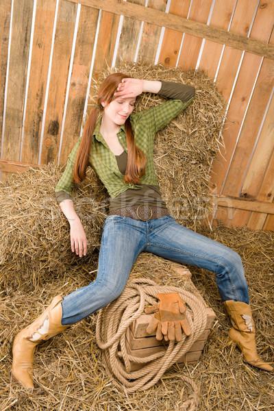 Provocante posição jovem feno celeiro mulher Foto stock © CandyboxPhoto