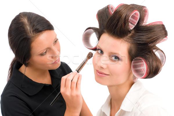 Sminkmester nő divat modell szemhéjfesték ecset Stock fotó © CandyboxPhoto