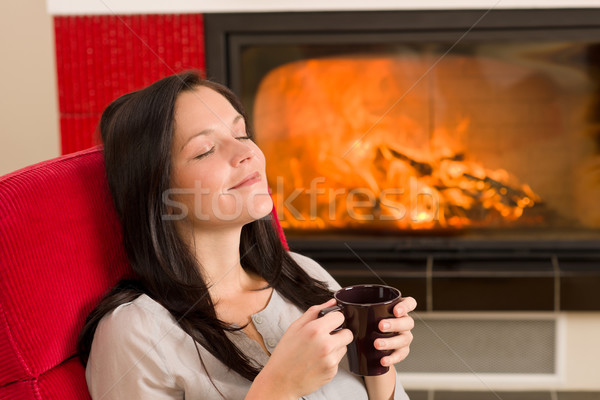 Winter home fireplace woman drink closed eyes Stock photo © CandyboxPhoto
