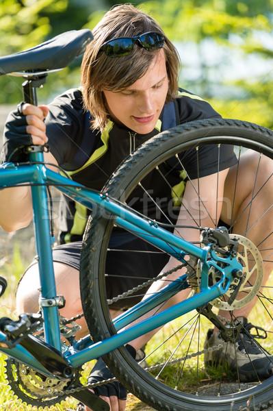 Erkek bisikletçi bisiklet genç spor yaz Stok fotoğraf © CandyboxPhoto