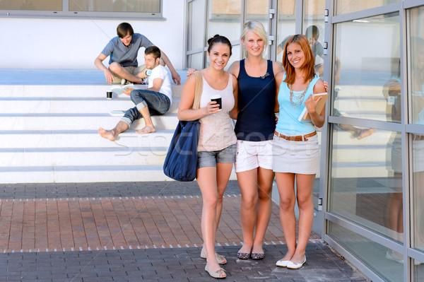 Stock foto: Studenten · lächelnd · Vorderseite · stehen