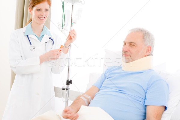Hospital - female doctor IV drip patient Stock photo © CandyboxPhoto