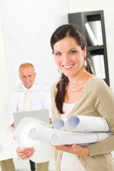 профессиональных архитектора женщину план служба привлекательный Сток-фото © CandyboxPhoto