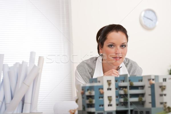 Stock fotó: Portré · női · építész · építészeti · modell · modern