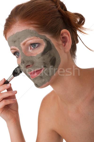 Ciało opieki młoda kobieta błoto maska biały Zdjęcia stock © CandyboxPhoto
