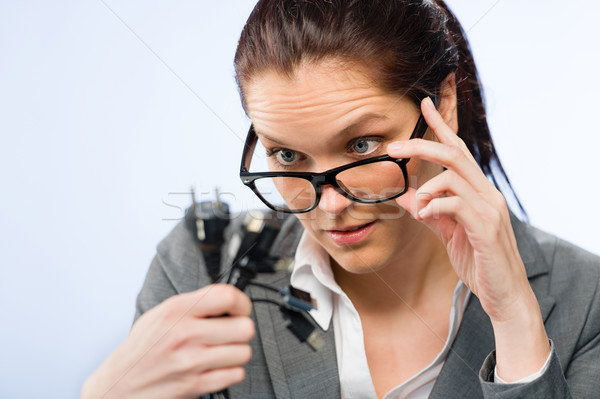 деловая женщина geek очки компьютер кабелей Сток-фото © CandyboxPhoto
