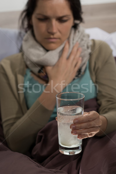 Sick woman preparing cold medicine to drink  Stock photo © CandyboxPhoto