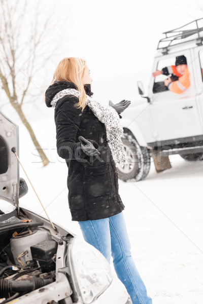 Woman having trouble with car snow assistance Stock photo © CandyboxPhoto