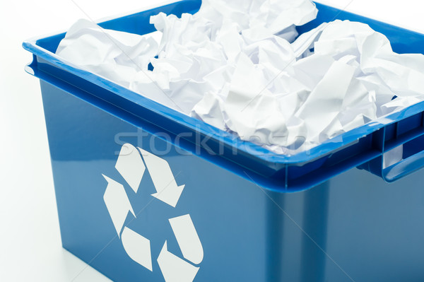 Blue recycling bin box with paper waste Stock photo © CandyboxPhoto