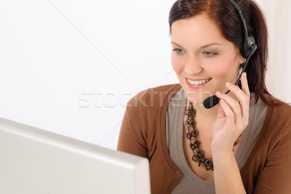 專業的 呼叫中心 代表 女子 看 計算機 商業照片 © CandyboxPhoto