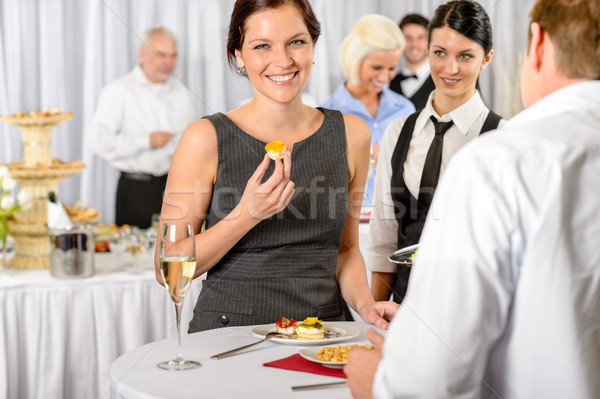 Business woman eat dessert from catering service Stock photo © CandyboxPhoto