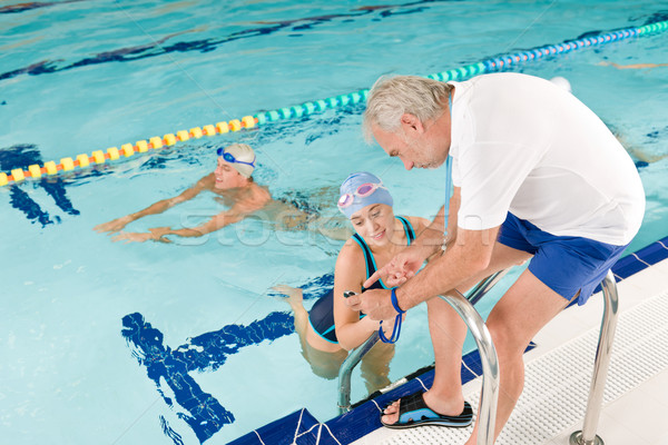 Pool coach - swimmer training competition Stock photo © CandyboxPhoto