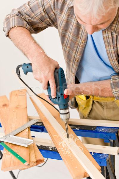 Melhoramento da casa handyman perfuração madeira oficina interior Foto stock © CandyboxPhoto