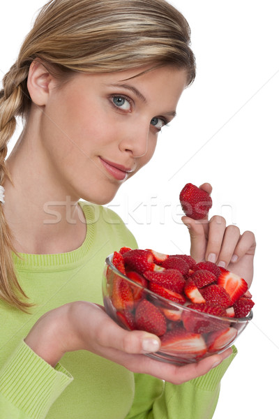 Stock photo: Healthy lifestyle series - Woman with strawberries