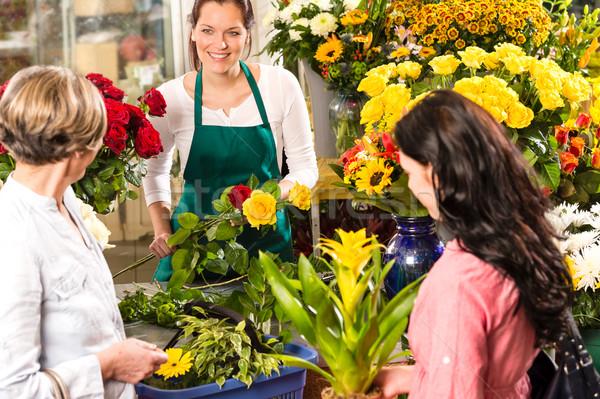 Foto stock: Florista · mujer · ramo · clientes · mercado