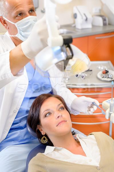 Mulher paciente dental cirurgia cirurgia dentária masculino Foto stock © CandyboxPhoto