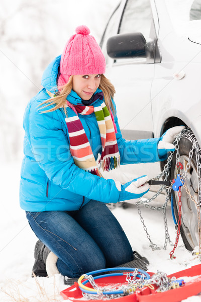Woman putting chains on car winter tires Stock photo © CandyboxPhoto