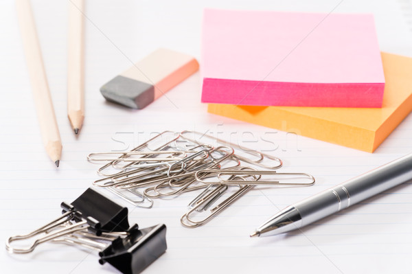 Paper pins with office supplies Stock photo © CandyboxPhoto
