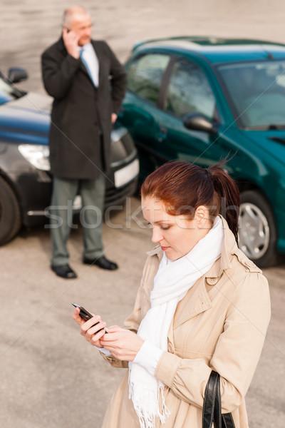 Nő hív biztosítás autó baleset csattanás Stock fotó © CandyboxPhoto