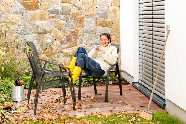 Happy woman relaxing housework drinking coffee patio Stock photo © CandyboxPhoto