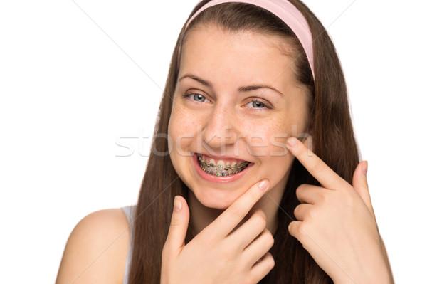 Glimlachend meisje bretels puistje geïsoleerd Stockfoto © CandyboxPhoto